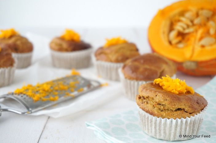 Pumpkin spice muffins met rozijnen - Mind Your Feed