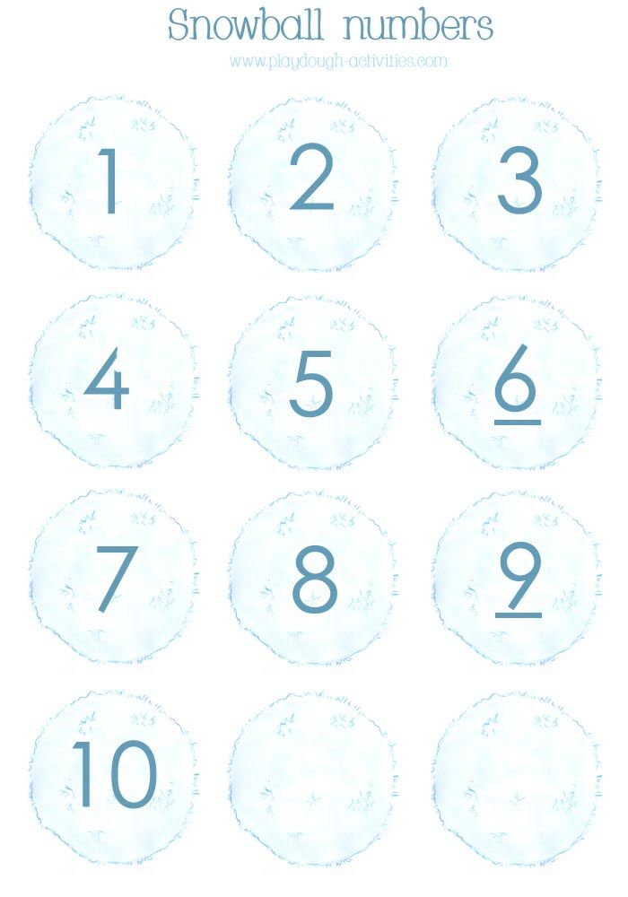 Snowball number counters 1 to 10