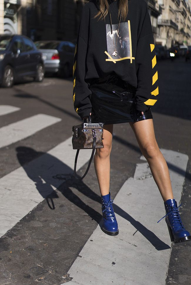 Aimee Song Of Style Paris Fashion Week Off White Hoodie Louis Vuitton Skirt Shoes