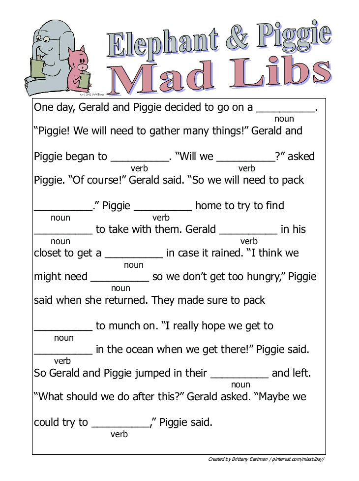 Mad Libs For Kids Elephant and piggie mad libs