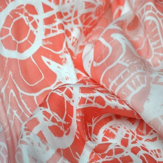 Coral in The Clouds | Online Fabric Store | Cotton, Linen, Lycra, Bamboo, Linen…