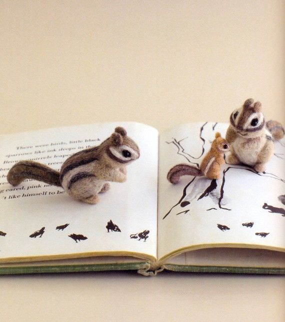 http://wanelo.com/p/3878170/learn-japanese-online-rocket-japanese - Needle Felted Chipmunks... so cute! I have to learn how to do needle felting!