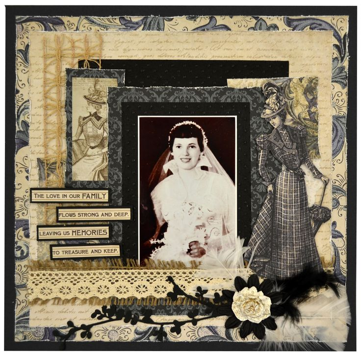 Lady with Umbrella Scrapbook Page