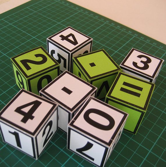 Numbers and Math Symbols Block Set  12 blocks  by paper4download