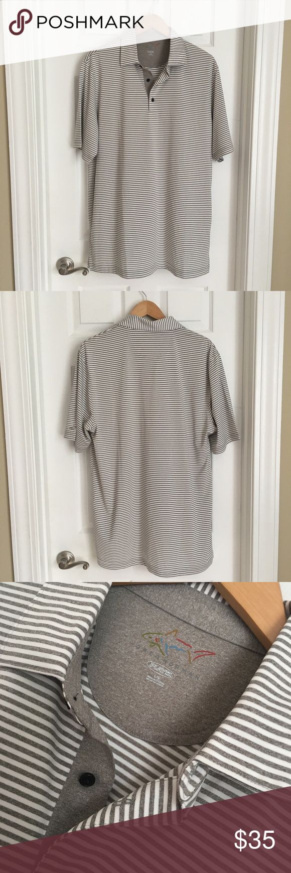 Greg Norman Play Dry Performance Polo Never worn Greg Norman Gray & White Striped Play Dry Performance Polo. Size Large. 10% Polyester. Smooth and silky--glides over skin and keeps you dry and cool. Perfect for golfing!  Pristine condition. Greg Norman Shirts Polos