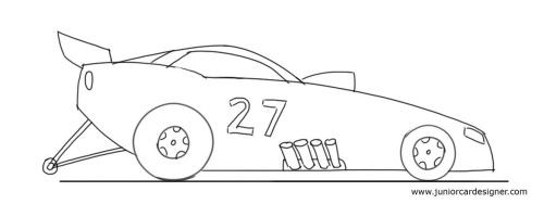 How To Draw A Race Car Car Drawing For Kids Pinterest