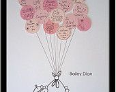 Small Baby Shower Guest Book Print for up to 20 guests - Girl. $39.00, via Etsy.