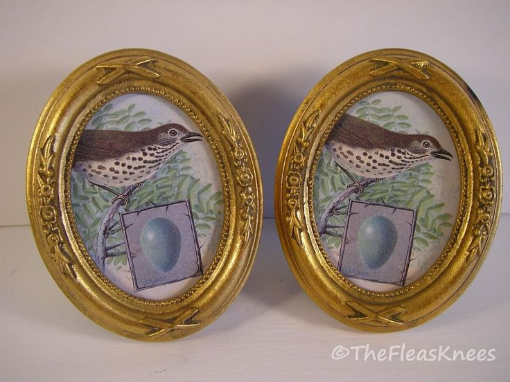 picture frame pair of 2 faux gold gilt antique oval for 2 12 x 3 12 photo - Miniature Frames
