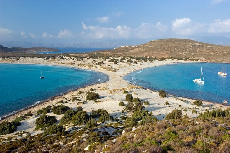 Elafonisos, Greece. Here we are talking about two beaches in one. Simos (or Sarakiniko) is located on the one side of the island, Fragkos on the other side. The emerald waters and the golden sand are, however, present in both.