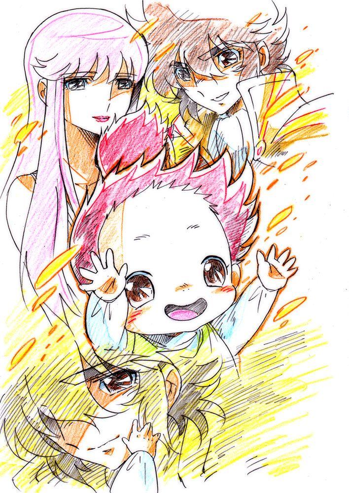Saori, Koga y Seiya de Sagitario 4.