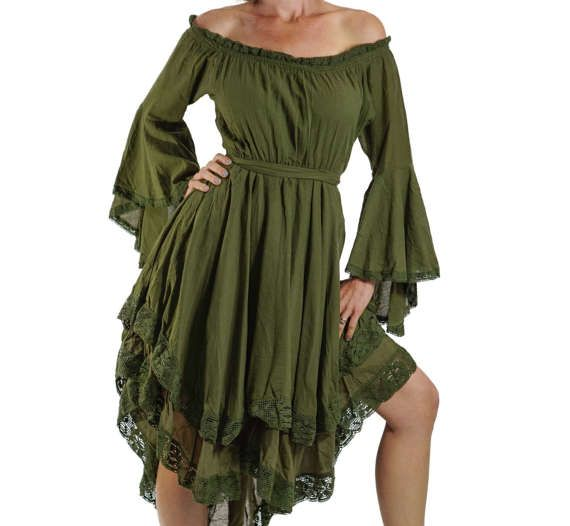 LACE DRESS LS Green - Renaissance Festival Pirate Dress, Womens Costume, Peasant Wench, Bell Sleeves, Long Sleeve, Steampunk, Corset, Bodice