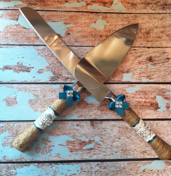Wedding cake knife set / burlap knife set / cake cutting set / rustic wedding / vintage lace wedding on Etsy, $29.99