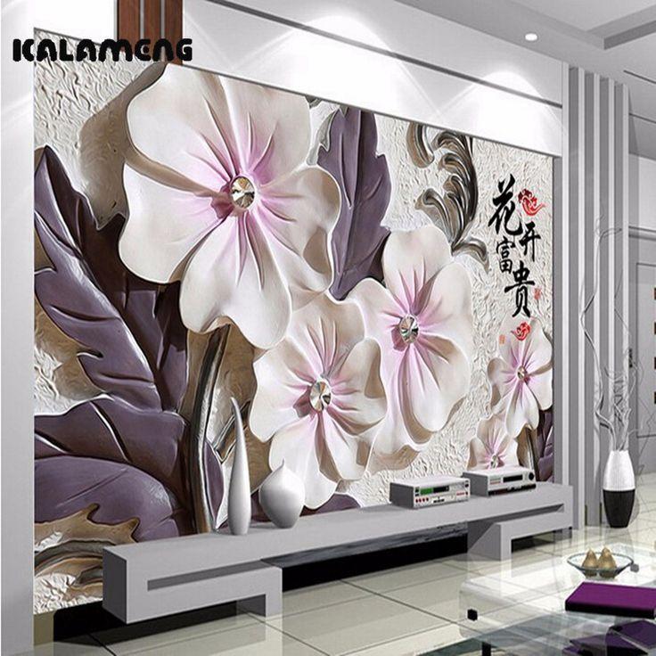 KALAMENG Custom 3D Wallpaper Design Ceramic Peony Photo Kitchen Bedroom Living Room Wall Murals Papel De Parede Para Quarto – Great Products