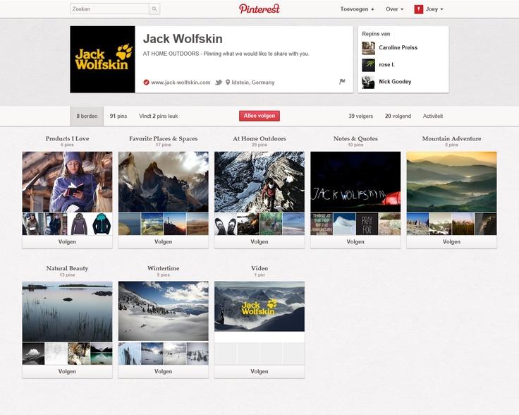 http://pinterest.com/jackwolfskin/  Jack Wolfskin gebruikt Pinterest voornamelijk om hun imago te versterken. Ze hebben slechts 1 bord met producten van hun kledinglijn. Bij hun andere borden tonen ze veel sfeerbeelden, gebieden waar hun uitrustingen goed tot hun recht kunnen komen. Naast beelden hebben ze ook een corporate video van hun merk.