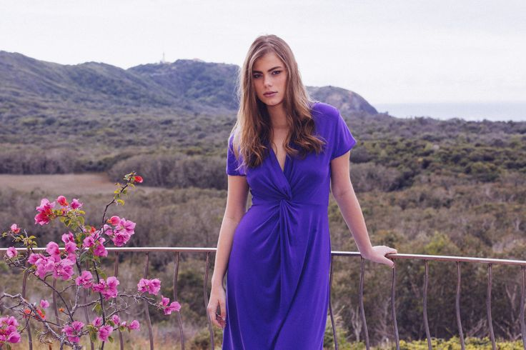 Bodypeace Scarlett Knot Dress. Comes in Black and Azure Blue. Elegant and comfortable bamboo clothing. www.bodypeacebamboo.com