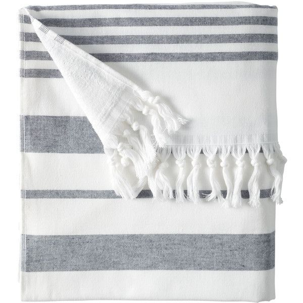 Serena & Lily Fouta Beach Towel ($48) ❤ liked on Polyvore featuring home, bed & bath, bath, beach towels, accessories, stripe beach towel y striped beach towels