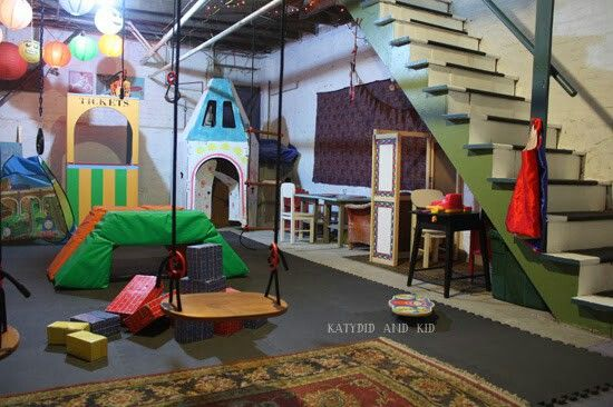 Cute little playroom in an unfinished basement!   Unfinished basement playroom. Basement playroom. Basement