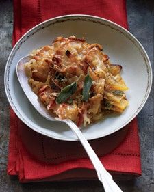 Butternut squash boosts this recipe with beta-carotene and vitamin C. To cook gratin in advance, prepare through step 2, cover, and refrigerate for up to 24 hours. Per serving: 264 calories; 6 g protein; 13 g fat; 30 g carbs; 5 g fiber. Read more about the  Health Benefits of Apples and get more Healthy Apple Recipes.