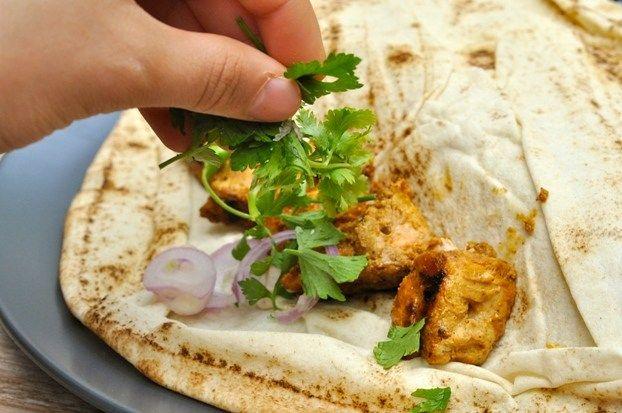 Turkish Chicken Kebab and Ezme Salad