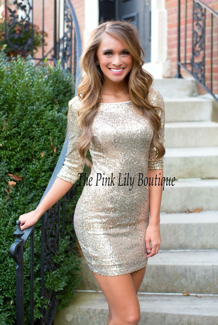 The Pink Lily Boutique - Dangerously In Love Gold Sequin Dress , $50.00 (http://thepinklilyboutique.com/dangerously-in-love-gold-sequin-dress/)