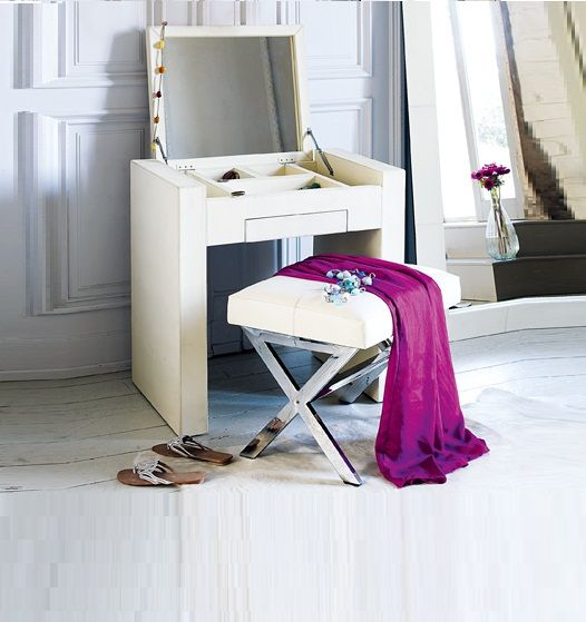 modern small white dressing table with folding mirror for makeup storage
