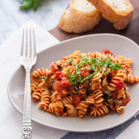 Not much beats a big plate of pasta with Homemade (Vegan) Creamy Tomato Sauce.