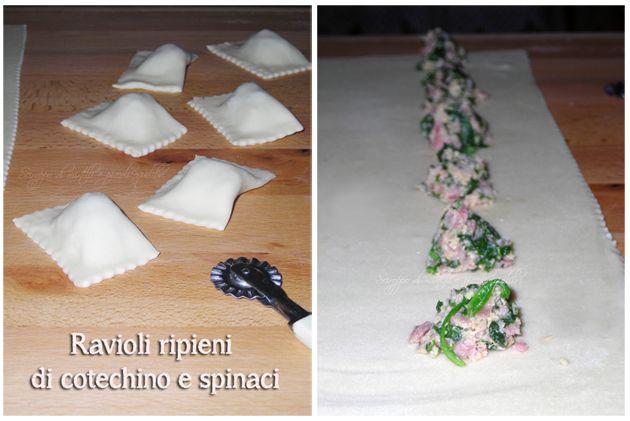 Ravioli ripieni di cotechino e spinaci (Ravioli stuffed with sausage and spinach)