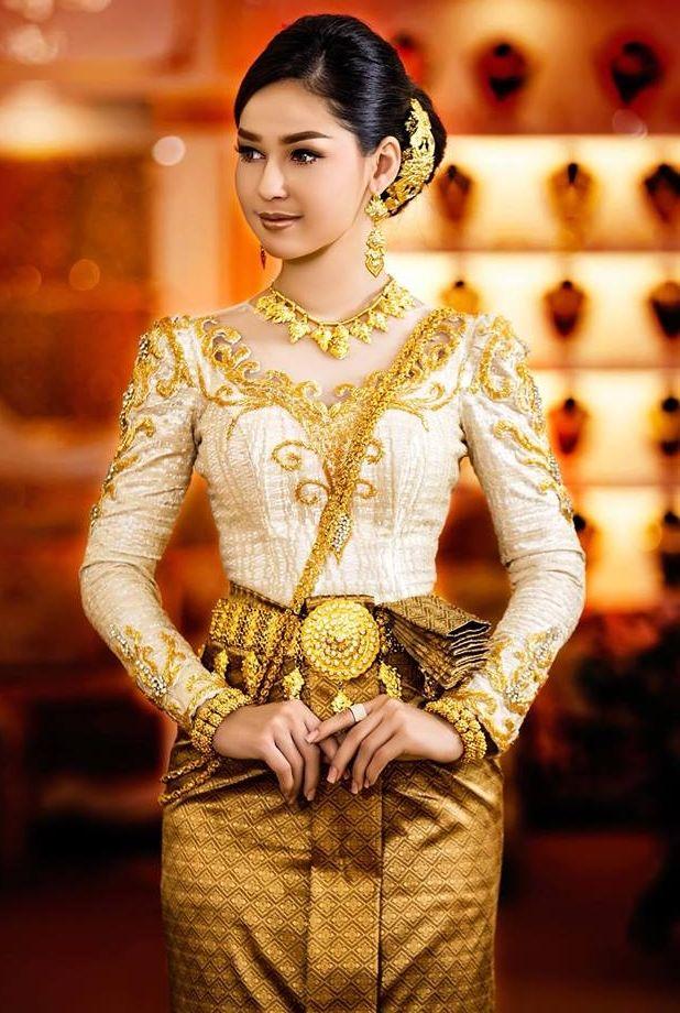58600569b khmer wedding costume | cambodia/khmer wedding dress in 2019 | Traditional  wedding dresses, Thai traditional dress, Khmer wedding