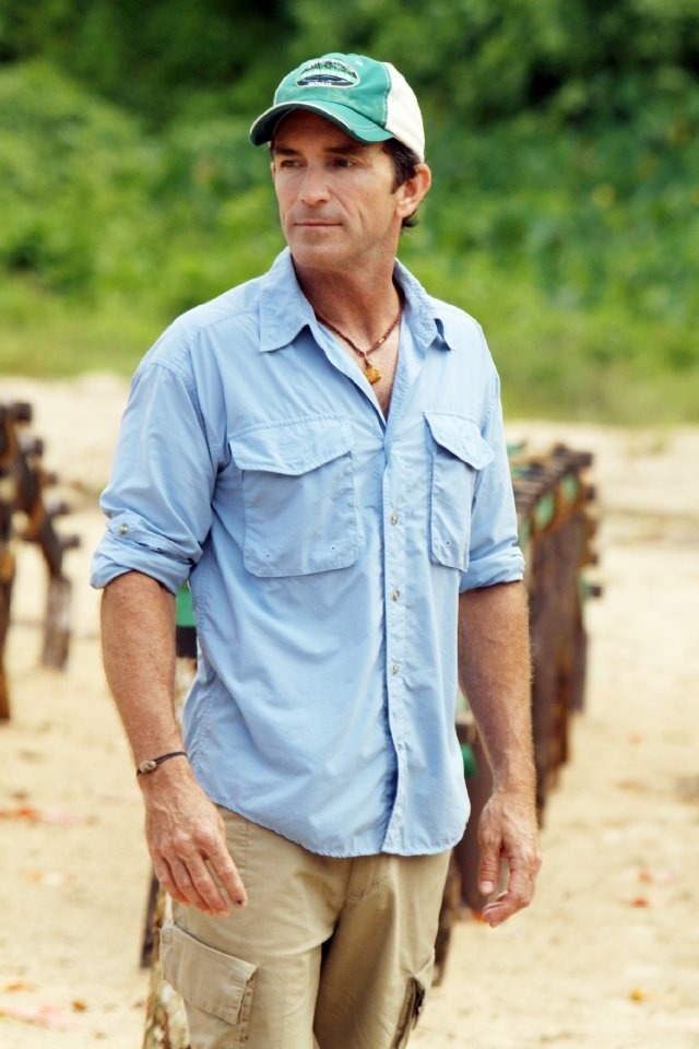 Jeff Probst in Survivor  And yes, the utter shame but I still find myself sucked in by this darn show every single week!  And every season I swear I am done, done with this!!  :)