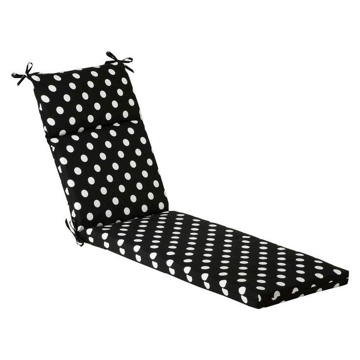 Outdoor Chaise Lounge Cushion - Black/White Polka Dot