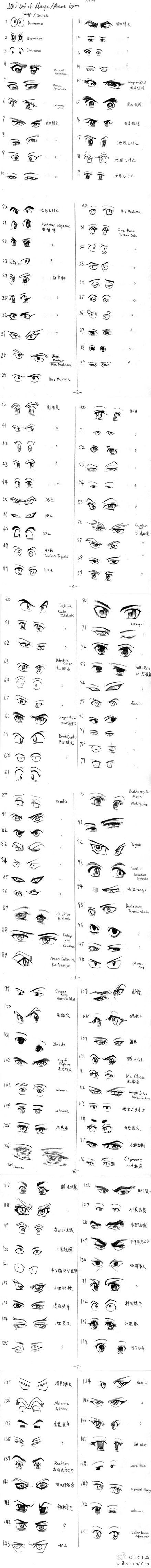 Stylized eye reference for character creation各种眼睛, How to Draw Manga People,Resources for Art Students / Art School Portfolio @ CAPI ::: Create Art Portfolio Ideas at milliande.com , How to Draw Manga Figures, Whimsical Human Figure, Sketch, Draw, Manga, Anime