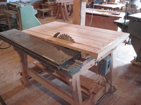 http://woodgears.ca/dads_shop/homemade_tablesaw.html   Back around 1993, my dad built a wooden table saw to use as a second table saw in his...