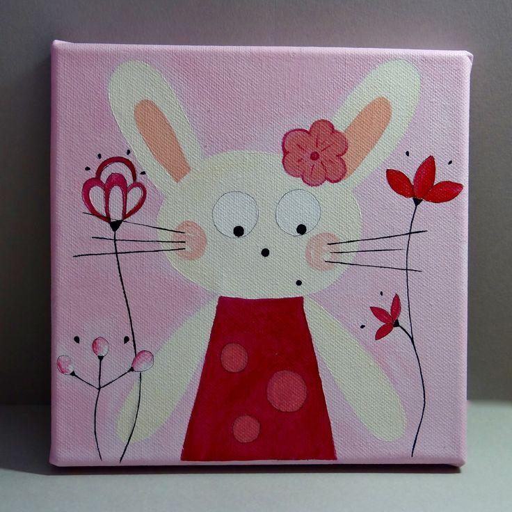 Tableau pour chambre d'enfant lapin : Décoration pour enfants par gribouille-et-chamalo