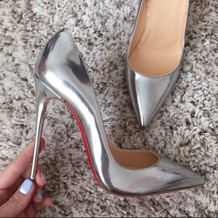 Marka kırmızı alt balo yüksek topuklu gümüş akşam ayakkabı kadınlar için kaliteli patent ince topuklu 10 cm 12 cm altın parti ayakkabı(China (Mainland))