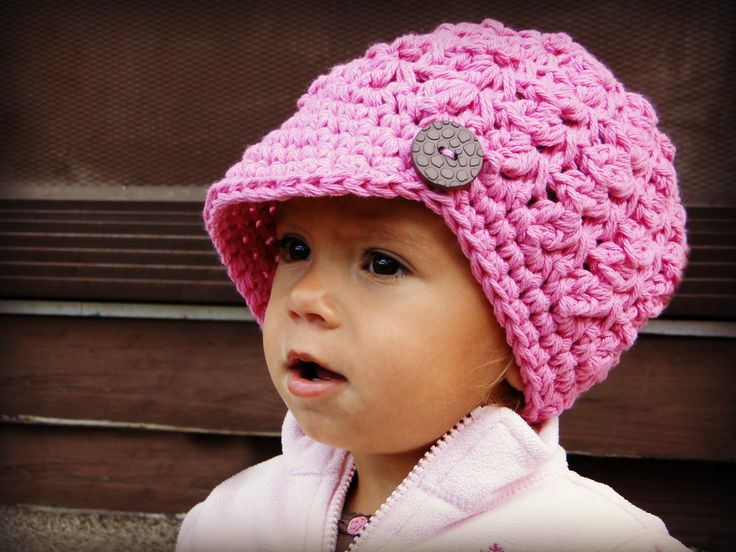 Crochet Baby Hat, kids hat, crochet newsboy hat, hat for girls, hat with button. $24.00, via Etsy.