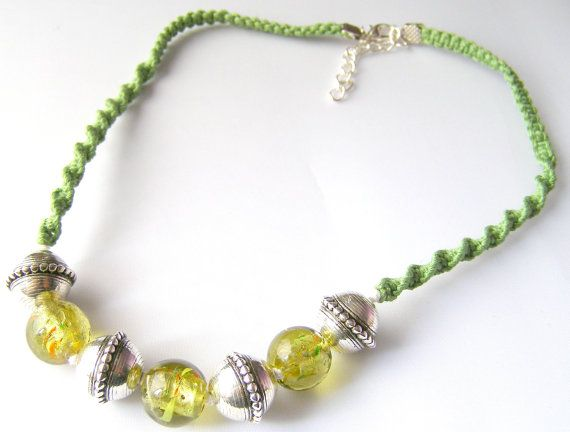 handcrafted macrame beaded green necklace and earring by terramor, €35.00