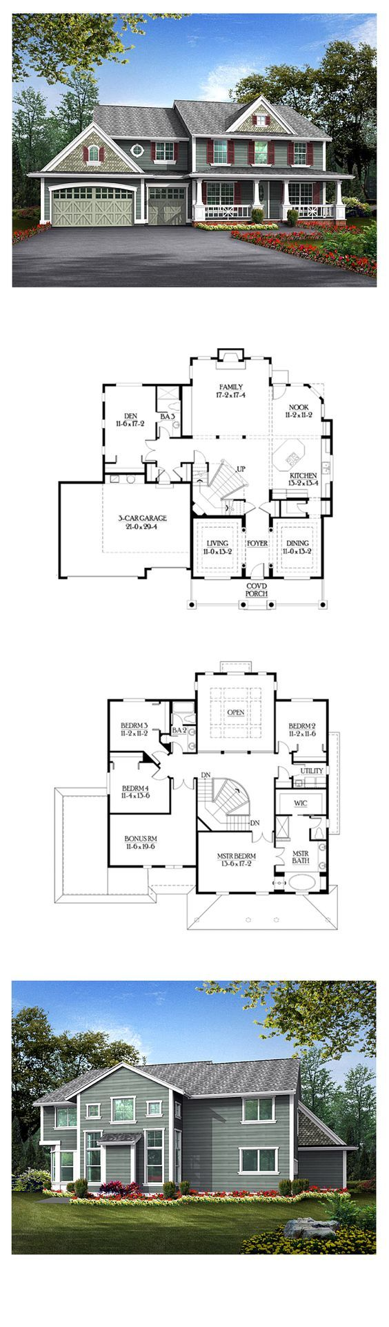 Luxury house plan 87651 total living area 3624 sq ft 4 bedrooms 3 bathrooms