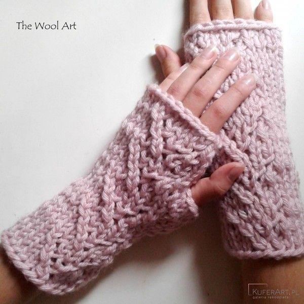 Rękawiczki mitenki pudrowy róż