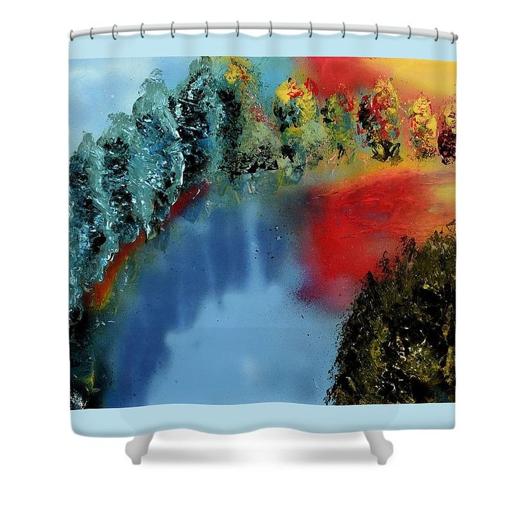 River Of Colors Shower Curtain Printed with Fine Art spray painting image River Of Colors Nandor Molnar (When you visit the Shop, change the size, background color and image size as you wish)