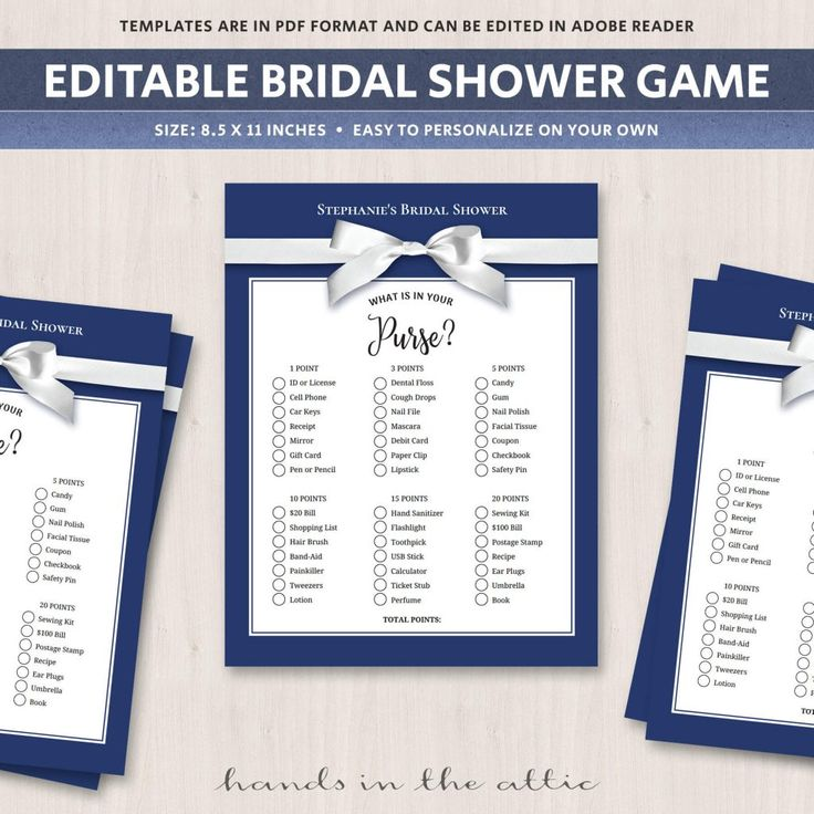 printable bridal registry list%0A What is in your purse Bridal Shower Game Navy Blue Printable