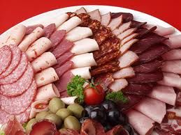 Function Platter food ideas: Continental cold cuts with shaved ham, beef pastrami, smoked turkey and Danish salami