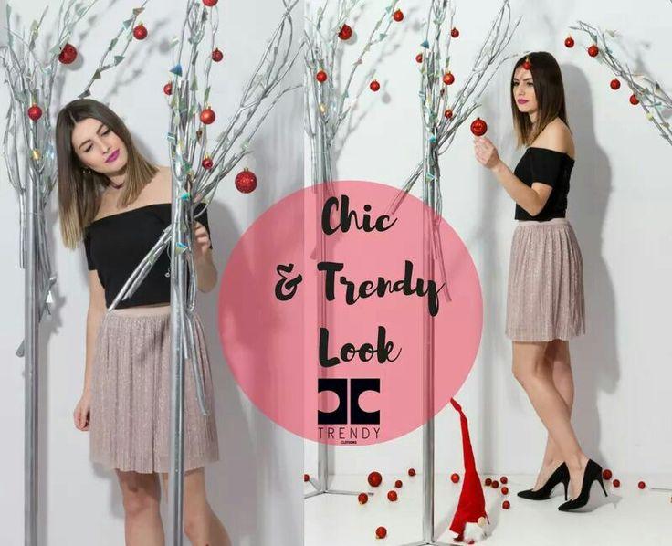 Chic and Trendy Look.. Για μια trendy βραδινή επέλεξε lurex φούστα με έξωμο τοπ για λαμπερές εμφανίσεις #trendy #trendyfashion #chicandtrendy  Shop online:http://bit.ly/2iCHYWd