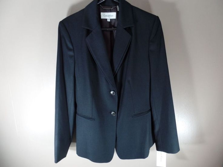 Calvin Klein Petites Womens Charcoal Black Sport Coat Blazer Jacket size 6  #Calvinklein #Blazer