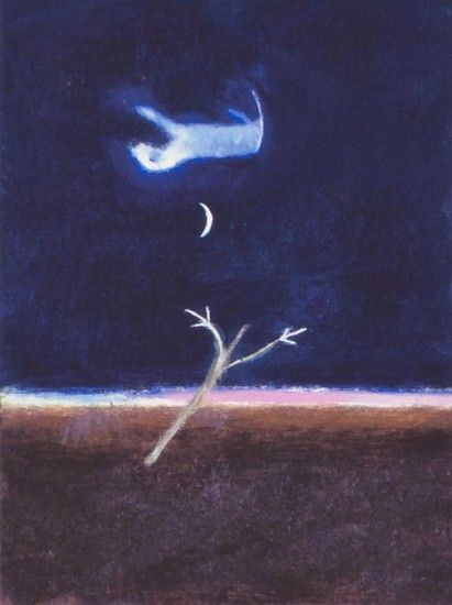 Craigie Aitchison (1926-2009) Wayney Going to Heaven. 1989.   The image of a Bedlington terrier rising paws first into the sky, is Craigie's memorial to Wayney, his dog, after he died in 1989