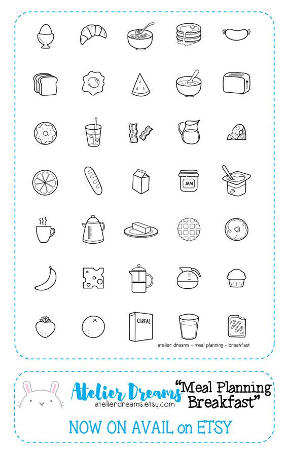 Meal Planning - Breakfast - Planner Stamps (Photopolymer Clear Stamps) breakfast icons, food stamps, foodies, food icons