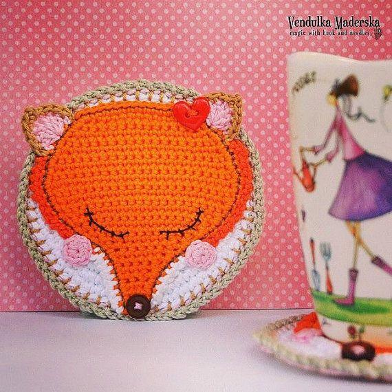 Crochet fox coaster  pattern DIY от VendulkaM на Etsy