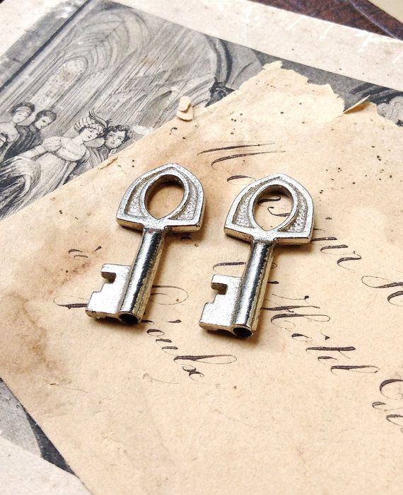 Vintage Keys - Two Matching Cabinet or Luggage Deco Style Silver Chrome Keys - Altered Art Assemblage Jewellery Steampunk Rustic Decor