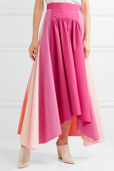 Peter Pilotto   Asymmetric color-block cotton-poplin midi skirt $950 Fuchsia, peach and coral cotton-poplin Concealed zip fastening along back 100% cotton Dry clean  Imported