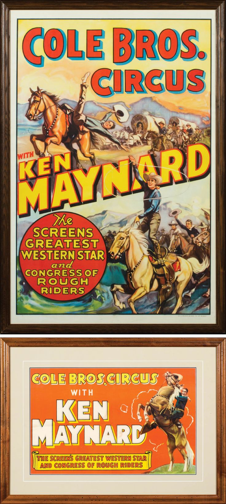 "Two Cole Bros Circus with Ken Maynard Posters Lot of 2 original lithograph movie posters for Cole Bros Circus with Tom Maynard: a) ""Cole Bros. Circus, with Ken Maynard, The Screen's Greatest Western Star and Congress of Rough Riders"". Bright graphic of Maynard on his Wonder Horse, Tarzan. b) ""Cole Bros. Circus, with Ken Maynard, The Screen's Greatest Western Star and Congress of Rough Riders"". 42"" x 27"" framed to 44"" x 29 1⁄2"". The graphics depict Maynard performing stunts with his horse…"