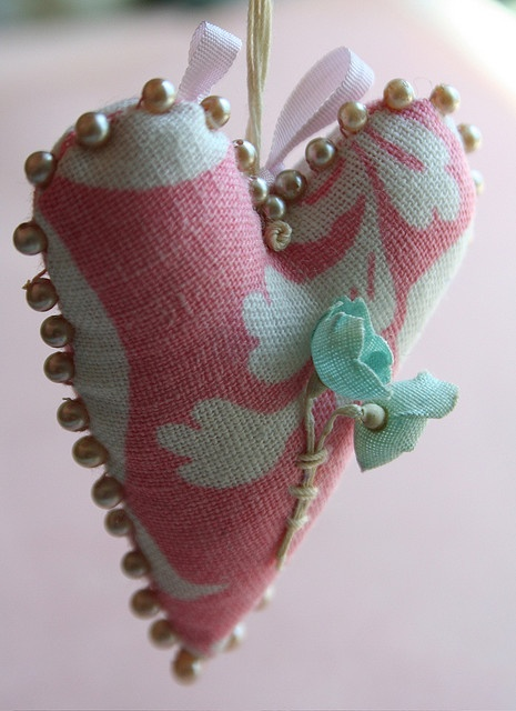Pink heart with pearls by Julie Collings